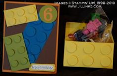 Lego birthday card and gift made with punches and Sizzix Big Shot. #stampinup