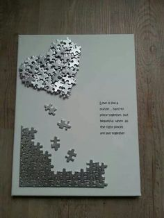 Anniversary or valentines day handmade card desing idea using jigsaw pieces. - Anniversary or valentines day handmade card desing idea using jigsaw pieces. Great way of recycling - Puzzle Piece Crafts, Puzzle Art, Puzzle Pieces, Puzzle Frame, Diy Crafts For Gifts, Fun Crafts, Crafts For Kids, Paper Crafts, Adult Crafts