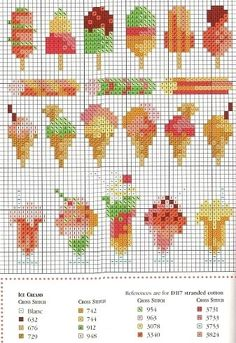 Free Ice Creams Hama Perler Bead Pattern or Cross Stitch Chart