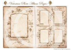 VICTORIAN PHOTO ALBUM  - Digital Collage Sheet - Printable Download - Scrapbooking - Ephemera - on Etsy, $2.10 CAD. These would make nice areas for writing on guestbook pages.