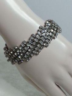 Vintage Hattie Carnegie Signed Clear Rhinestone Prong Set Silvertone Bracelet  #HattieCarnegie