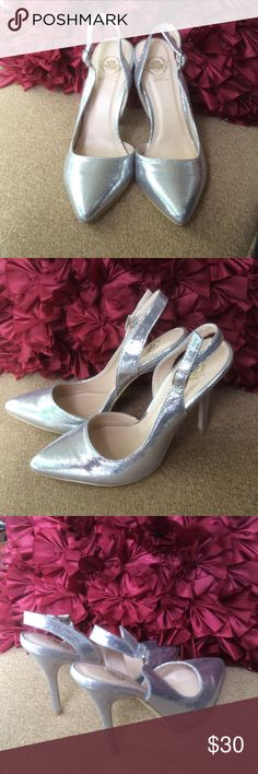 """NEW🌹Beautiful 🌹 liquid silver sling backs New without tags...perfect for weddings, prom, or any dressy event...closet kept...my loss your gain...4 3/4"""" heel Wild Rose Shoes Heels"""