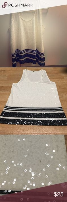 J Crew stylish sequin tank Great deal! Sequin too can be perfectly paired with light blue jeans for a casual brunch! Second photo shows minor stain, but barely visible to the naked eye. If you need additional pics or have any questions, please message me! J. Crew Tops Tank Tops