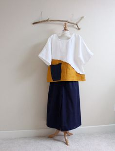 linen outfit blouse with pants handmade by annyschooecoclothing