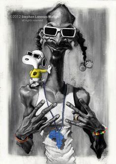 Snoop Dog And Snoopy Caricatures. Snoop Dogg, Arte Hip Hop, Hip Hop Art, Arte Dope, Dope Art, Cartoon Faces, Cartoon Art, Graffiti Art, Dark Fantasy Art