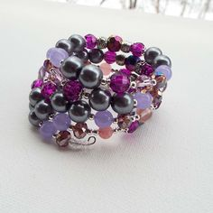 Grey Purple Wine Memory Wire Bracelet, Lavender Bracelet Gift for Her, Silver Accent Bracelet, Peacock Cuff Bracelet Gift for Mum, by Willows3Creations on Etsy