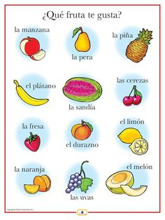 Introduce fruits with this colorful 18 x 24 in. poster that includes a free guide with teaching suggestions and practice worksheets. For more practice with fruits, see Gustar + noun here.