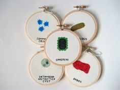 Hepatitis C cross stitch, completed in 3 round natural wood embroidery hoop    ---The Story---    Hepatitis C is an inflammation of the liver from