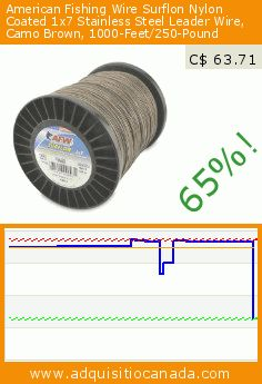 American Fishing Wire Surflon Nylon Coated 1x7 Stainless Steel Leader Wire, Camo Brown, 1000-Feet/250-Pound (Sports). Drop 65%! Current price C$ 63.71, the previous price was C$ 182.93. https://www.adquisitiocanada.com/american-fishing-wire/surflon-nylon-coated-1x7-90