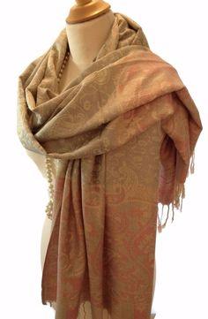 Vintage  Pashmina Scarf Shawl Wrap Paisley Floral Design Cream Pink Grey #unbranded #Pashmina