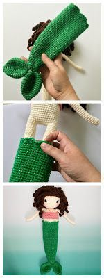 Free Crochet Doll Mermaid Fin Pattern- Sophie Edition Walk on land or swim in the sea with this free crochet doll pattern! Make a crochet mermaid tail for this doll, then dress her up in her princess outfit. Crochet Amigurumi, Crochet Bear, Crochet Gifts, Cute Crochet, Crochet For Kids, Amigurumi Doll, Sewing For Kids, Crochet Toys, Crochet Afghans
