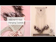 How To Make A Macrame Wall Hanging Dreamcatcher With Feathers Tutorial - YouTube