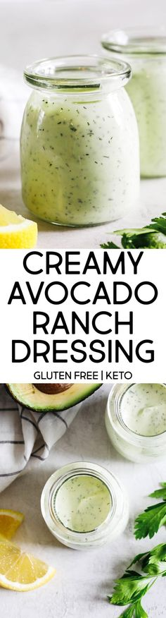 Creamy Avocado Ranch Dressing made healthier with Greek yogurt easily made in just 5 minutes with so much delicious flavor! Perfect for salads, dips for veggies, and more! Avocado Ranch Dressing, Greek Yogurt Dressing, Eat Yourself Skinny, Ranch Recipe, Ripe Avocado, No Calorie Foods, Health Eating, Avocado Recipes, Skinny Recipes