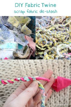 Strips of scrap fabric easily turns into colorful twine to use for wrapping gifts or other craft projects. Fun and easy way to destash your scrap fabric pile. Scrap Fabric Projects, Diy Craft Projects, Craft Tutorials, Craft Ideas, Glitter Magnets, Twine Crafts, Diy Thanksgiving, Textiles, Fabric Strips