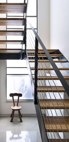 steel stair with cables
