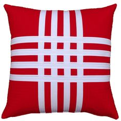 Red & White Slice 'n Dice Pillow from Red Pepper Quilts - made with Pure Organic solids.