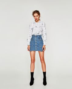 ZARA - TRF - EMBROIDERED CHECKED SHIRT