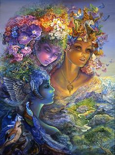 The Three Graces by Josephine Wall.   3 inseparable sisters – daughters of Zeus, representing all that is noble, beautiful & pure, keep watch from above. Aglaia (brightness) symbolized by brightly colored butterflies, Euphrosyne (joyfulness) symbolized by the joyful sound of birdsong, & Thalia (bloom) symbolized by a headdress of flowers. Above all they were goddesses, noble of grace, & a beauty which enchants. Their hair & faces shine with radiant beauty, looking down from Mt. Olympus. ❤❦♪♫