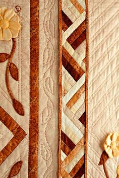 In Room to Bloom, hand-quilted vines and grids complement dimensional flower appliqué details and pieced inner borders. Quilt Binding, Quilt Stitching, Applique Quilts, Bargello Quilts, Scrappy Quilts, Cute Quilts, Small Quilts, Quilt Block Patterns, Quilt Blocks