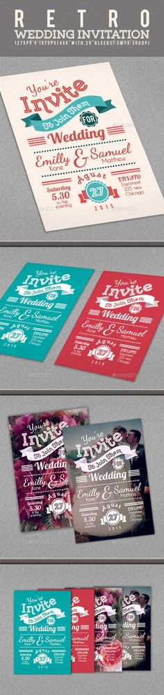 Buy Retro Wedding Invitation by Goodgraph on GraphicRiver. Retro Wedding Invitation The PSD file is setup at x with bleeds) CMYK The PSD file i. Retro Wedding Theme, Retro Wedding Invitations, Wedding Party Games, Vintage Wedding Colors, Vintage Wedding Cards, Elegant Invitations, Wedding Invitation Templates, Wedding Stationery, Diy Wedding