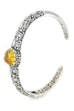 Carved Cognac Quartz Sterling Silver Bangle with 18K Gold Accents | Cirque Jewels