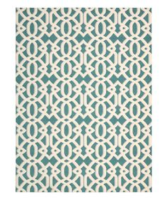 Look at this Teal Latticework Enhance Rug on #zulily today!