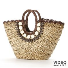 Sun N Sand Beaded Shells Woven Straw Tote (24.195 CLP) ❤ liked on Polyvore featuring bags, handbags, tote bags, purses, totes, beach, brown, straw hand bags, handbags totes and straw beach tote