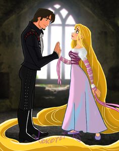 Rapunzel and Flynn Rider in Tangled/ Into the Woods Crossover Disney Pixar, Walt Disney, Disney Couples, Disney Fan Art, Disney And Dreamworks, Disney Animation, Disney Love, Disney Characters, Punk Disney