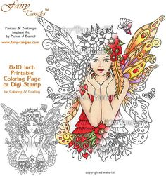 Poppies & Flutters  Fairy Tangles Printable Coloring Book