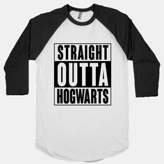 "This funny Harry Potter parody shirt features the words ""straight outta Hogwarts"" and is perfect for people who love Harry Potter, Hogwarts School of Witchcraft and Wizardry, hip hop, rap, reading, books, nerdy shirts, and is perfect for showing your love for Hogwarts at school, college, the library, or just kicking it with your homies in Compton."