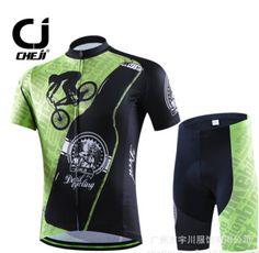 2017 CHEJI Summer Green Bike Bicycle Cycling Jerseys Shorts Set Suit Quick-Dry