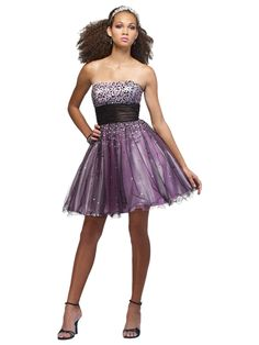 Purple Strapless Stain High Waisted Sequins Dress