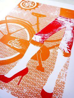 LA Bike Screenprint Poster.