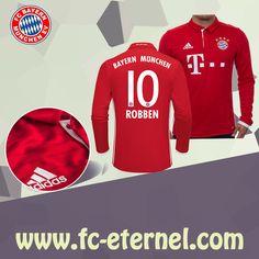 fc-eternel:Maillot Bayern Munich Manche Longue ROBBEN 10 Domicile 16/17 Maillot Bayern Munich, Lewandowski, Football, Sweatshirts, Sports, Sweaters, Tops, Baby Born, Long Dress Patterns