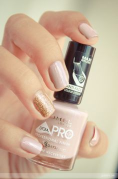 """RIMMEL  """"Bare Necessities"""" I don't like the one glitter nail but I have that nail polish in another shade and I LOVE it!"""