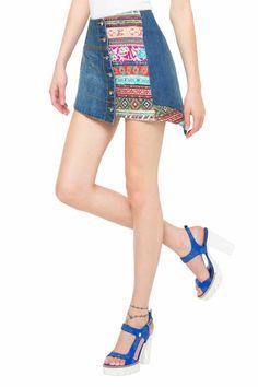 61F27C9_5061 Desigual Denim Skirt Manuela, Denim Short Skirt