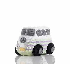 Pebble fair trade and hand made, cotton crochet Camper Van. Machine washable and suitable from birth.