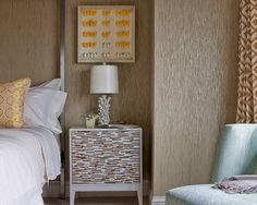 Yellow butterflies and grass cloth wallpaper