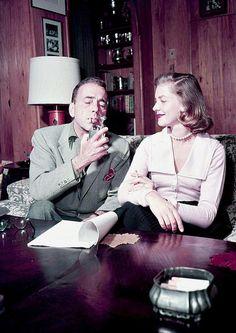 Lauren Bacall and Humphrey Bogart at home, c. 1950s