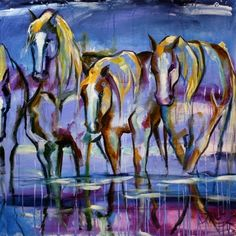 'Rain Puddle Ponies' Large Colorufl Horse Equine Art Painting by Texas Artist Laurie Pace -- Laurie Justus Pace