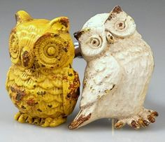 What a Hoot! #antiqueiron #owl #knob #cabinethardware In white or yellow; priced per knob, sold in set of 2.