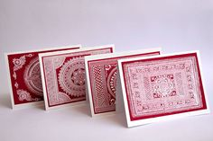 This screen printed Card set depicts the various aipan designs used for the different cultural customs in the Kumaon hills.  The set contains 9 cards which showcase the age old aipans of Kumaon.  Reproducing these aipan patterns in the form of cards is an effort to preserve the these traditional motifs and spread their heritage.  By Padma Shri Dr. Yashodhar Mathpal  Available on Tadpole Store!  http://www.tadpolestore.com/aipan-cards.html