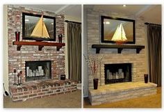 painting a brick fireplace, fireplaces mantels, home decor, painting, Before and After Brick Anew Fireplace Brick Paint