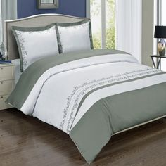 Amalia Gray Embroidered Duvet Cover Set $69.99 and up www.scotts-sales.com