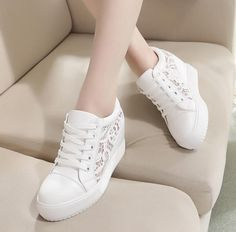 Hot Sale Womens Lace Hollow Round Toe Ankle Boots Wedge Heel Shoes Sneakers D736