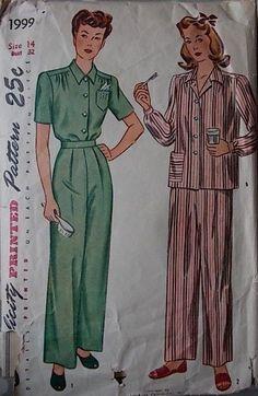 40s Pyjamas Vtg Sewing Pattern Simplicity 1999 B 32