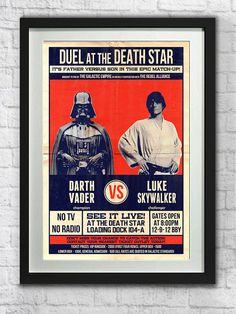 Star Wars Poster, Darth Vader Art Print, Luke Skywalker Printable, Cult Classic, Vintage Inspired, Digital Download, Geeky, Movies, Nerdy