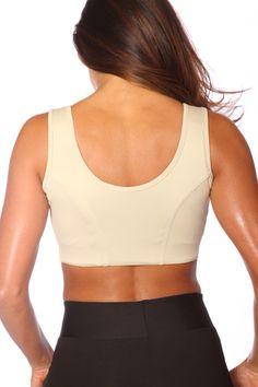 Gold zip front sports bra in beige. Look good feel great in this ...