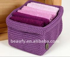 Purple Crochet Square Basket