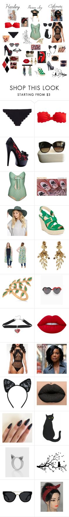 """Gotham girls going swimming"" by elizrose77864 ❤ liked on Polyvore featuring Marysia Swim, J.Crew, Ellie, Marc Jacobs, Lilliput & Felix, Billabong, Nine West, Sealed With a Kiss, Oscar de la Renta and Allurez"
